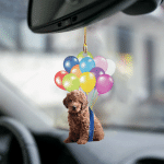 Goldendoodle fly with bubbles dog hanging ornament-2D Effect
