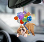 Bulldog Fly With Bubbles Car Hanging Ornament-2D Effect