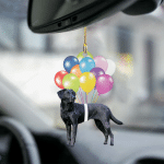 Black Labrador Fly With Bubbles Hanging Ornament-2D Effect