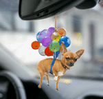 Chihuahua Dog Fly With Bubbles Car Hanging Ornament-2D Effect