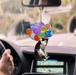 Border Collie Dog Fly With Bubbles Car Hanging Ornament-2D Effect.