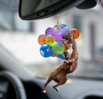 Boxer Dog Fly With Bubbles Car Hanging Ornament-2D Effect