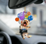 Yorkshire Terrier Dog Fly With Bubbles Car Hanging Ornament-2D Effect
