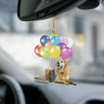 Golden Retriever Fly With Bubbles Dog Hanging Ornament-2D Effect