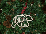 Personalized Hanging Christmas Bear Wooden Ornament
