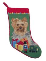 Needlepoint Christmas Dog Breed Stocking -Yorkie With Toys