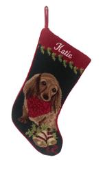 Needlepoint Christmas Dog Breed Stocking -Dachshund - Long-Haired Red With Bandanna