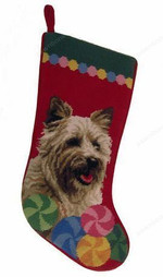 Needlepoint Christmas Dog Breed Stocking -Cairn Terrier With Circles