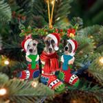Whippet Christmas Socks Ornament