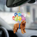 Labradoodle fly with bubbles dog hanging ornament-2D Effect