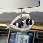 Black And White English Springer Sleeping Angel - Hanging Ornament