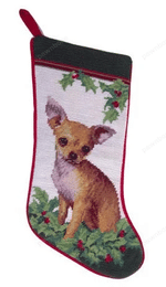 Needlepoint Christmas Dog Breed Stocking - Chihuahua Tan With Holly