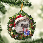 Hedgehog Christmas Gift Acrylic Ornament