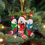 Japanese Spitz Christmas Socks Ornament