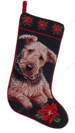 Needlepoint Christmas Dog Breed Stocking -Airedale With Poinsettias