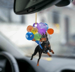 Doberman Pinscher Fly With Bubbles Dog Hanging Ornament-Flat 2D Effect