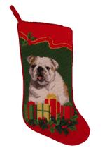 Needlepoint Christmas Dog Breed Stocking - Bulldog + Presents And Holly