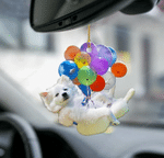 American Eskimo Dog Fly With Bubbles Car Hanging Ornament-2D Effect