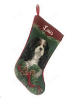Needlepoint Christmas Dog Breed Stocking -Cavalier King Charles Tri-Color With Red Border