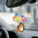 Sheltie/Shetland Sheepdog fly with bubbles dog hanging ornament-2D Effect