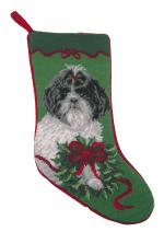 Needlepoint Christmas Dog Breed Stocking - Shih Tzu With Wreath