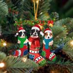 Border Collie Christmas Socks Ornament