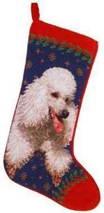 White Poodle Christmas Stocking