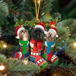Lhasa Apso Christmas Socks Ornament
