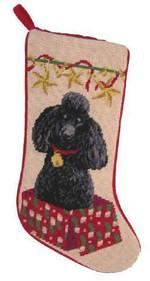 Black Poodle Christmas Stocking