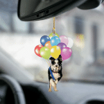 Border Collie fly with bubbles dog hanging ornament-2D Effect