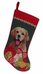 Needlepoint Christmas Dog Breed Stocking - Golden Retriever With Toys