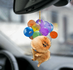 Pomeranian Dog Fly With Bubbles Car Hanging Ornament-2D Effect
