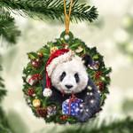 Panda Christmas Gift Acrylic Ornament