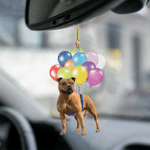 Staffordshire Bull Terrier03 Fly With Bubbles Dog Hanging Ornament-2D Effect