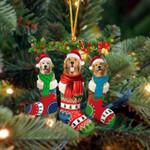 Golden Retriever Christmas Socks Ornament