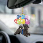 Black Poodle fly with bubbles dog hanging ornament-2D Effect