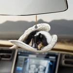 Black Tri-Color Border Collie Sleeping Angel Dog Moms Ornament