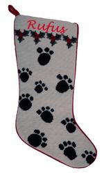 Needlepoint Christmas Dog Stocking With Paw Prints