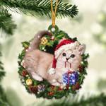 Munchkin Cat Christmas Gift Acrylic Ornament
