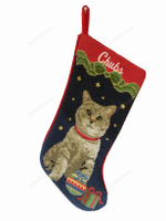 Needlepoint Christmas Cat Stocking -Graytabby
