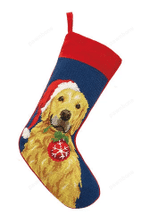 Needlepoint Christmas Dog Breed Stocking - Golden Retriever With Ornament