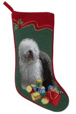 Needlepoint Christmas Dog Breed Stocking -Old English Sheepdog