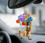 German Shepherd Dog Fly With Bubbles Car Hanging Ornament-2D Effect