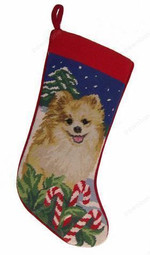 Needlepoint Christmas Dog Breed Stocking - Pomeranian With Candy Canes