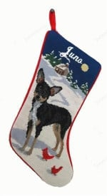 Needlepoint Christmas Dog Breed Stocking - Chihuahua Black +Tan With Moon