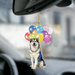 Alaskan Malamute Dog Fly With Bubbles Dog Hanging Ornament-2D Effect