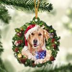 Golden Retriever Christmas Gift Acrylic Ornament