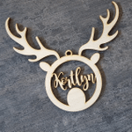 Personalized Hanging Christmas Dear Baubles Wooden Ornament