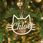 Personalized Cat Face Christmas Ornament