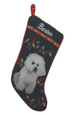 Needlepoint Christmas Dog Breed Stocking -Bichon Frise With Lights